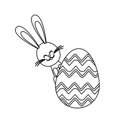 Cute easter bunny egg decoration ornate line vector