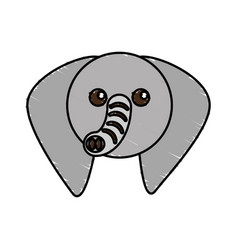 Cute elephant drawing animal vector