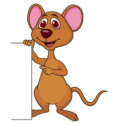 Cute mouse cartoon with blank sign vector