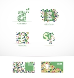 Dots bubble letter logo icon set vector image