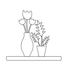 Dotted shape wood shelf with flowers inside jar vector
