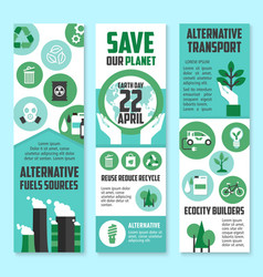Earth day save planet banner set for eco design vector