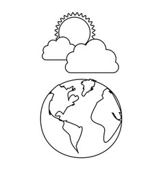 figure earth planet with cloud and sun vector image