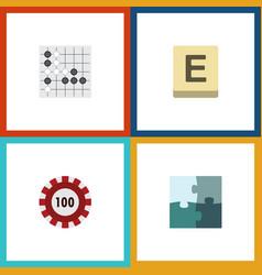 flat icon entertainment set of poker jigsaw vector image vector image