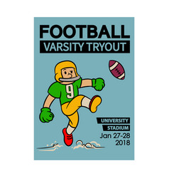 football varsity tryout cartoon vintage poster vector image