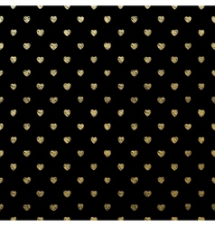 Gold seamless hearts on black EPS 10 vector image