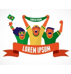 Group of brazilian soccer fans vector