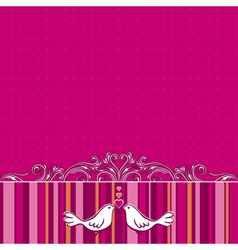 Hand draw doves on pink striped background vector