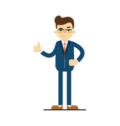 Happy businessman with thumb up gesture vector