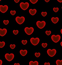 Hearts black background seamless pattern vector image vector image