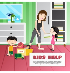 Kid Cleaning vector image