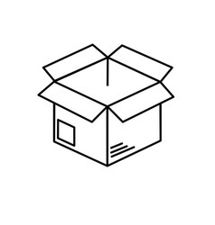 Line open box to delivery innovation vector