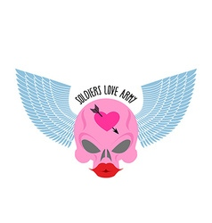 Logo logo of soldier of love pink skull with large vector