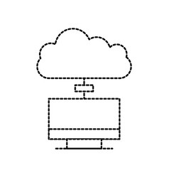 monitor cloud computing connection system vector image