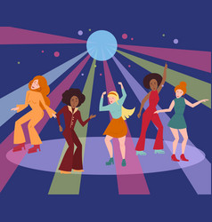 Multi ethnic group in 1960 1970 cloth dance disco vector