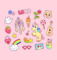 Pop art stickers set cartoon comic style vector