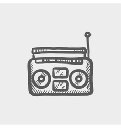 Radio cassette player sketch icon vector