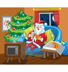 Santa watches tv vector