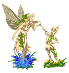 Sculpture of fairy with wings and cheerful boy vector