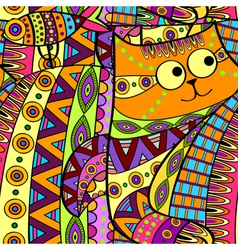 Seamless decorative cat ornamental background vector