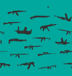 seamless pattern weapons silhouettes vector image