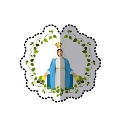 Sticker arch of leaves with virgin of miracles vector