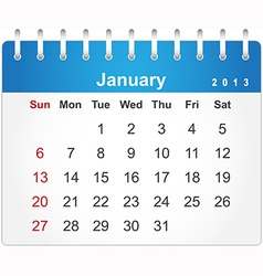 Stylish calendar page for January 2013 vector image vector image