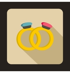 Wedding rings icon flat style vector image