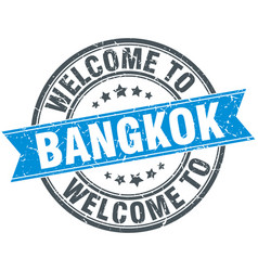 Welcome to bangkok blue round vintage stamp vector