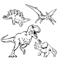 Dinosaurs monochrome hand drawn icons set vector