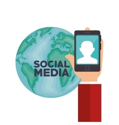 Hand smartphone globe social media isolated design vector