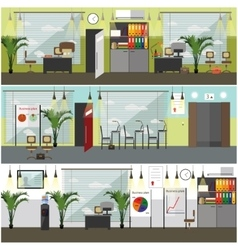 Office interior concept posters banners in vector