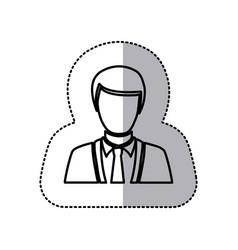 sticker monochrome half body silhouette man vector image