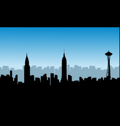 Silhouette of various usa building scenery vector