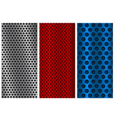 Metal perforated backgrounds red blue and silver vector