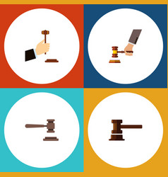 Flat icon lawyer set of legal crime government vector
