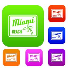 Miami beach set collection vector