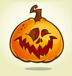 Cartoon pumpkin head with an evil expression vector