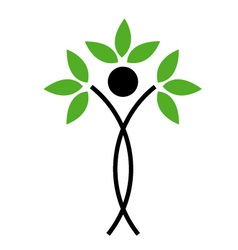 Human figure with green leaves vector image