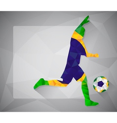 Brazilian football player with ball in triangles2 vector image