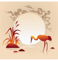 Sunset landscape with bird vector
