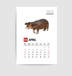 2016 April calendar Hippopotamus polygon vector image