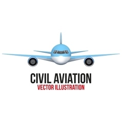 Front view of civil aircraft vector