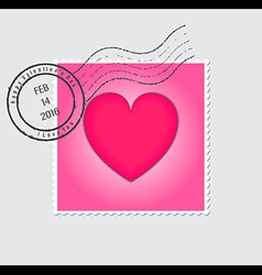 Happy Valentines Day Postage Stamp vector image