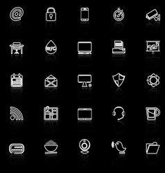 Internet cafe line icons with reflect on black vector