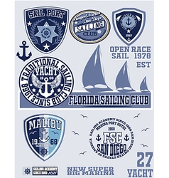 Sail set of vintage retro nautical badges and labe vector