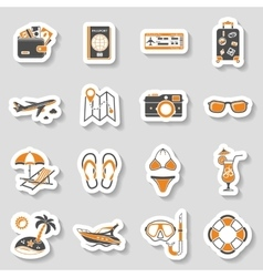 Vacation and tourism icons sticker set vector