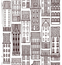 city hand-drawn background with cute houses vector image