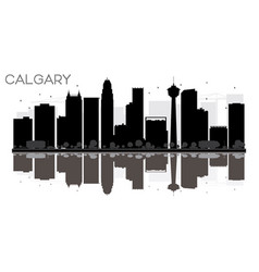 calgary city skyline black and white silhouette vector image vector image