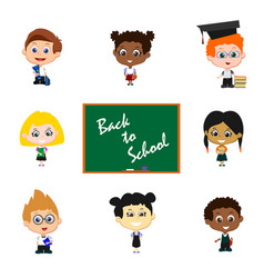 Children with blackboard vector